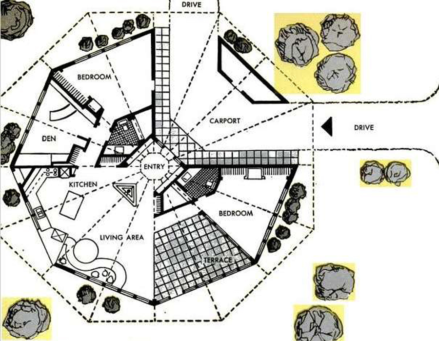 House map and design joy studio design gallery best design for Modern octagon house plans